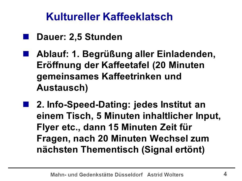 Mahn- und Gedenkstätte Düsseldorf Astrid Wolters 5 Kultureller Kaffeeklatsch Speed-Dating einmal anders, Gedenkstätte und Hetjens-Museum