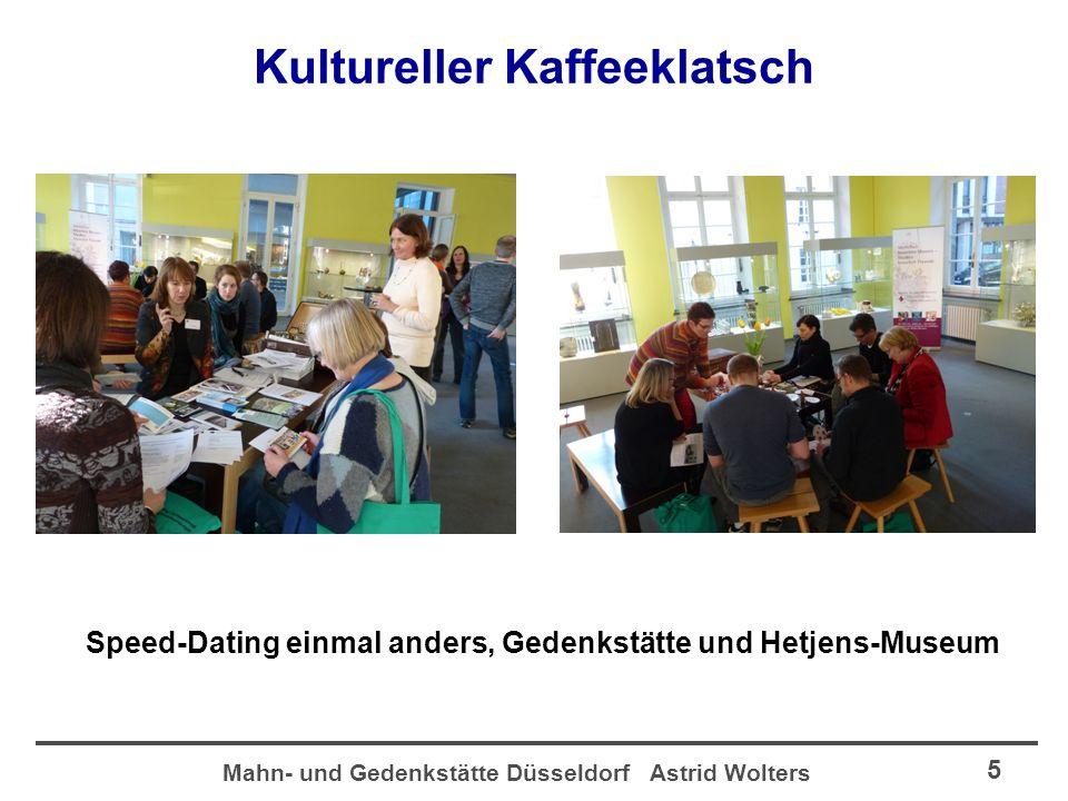 Mahn- und Gedenkstätte Düsseldorf Astrid Wolters 6 Kultureller Kaffeeklatsch Speed-Dating einmal anders, Film-Museum und Thementisch