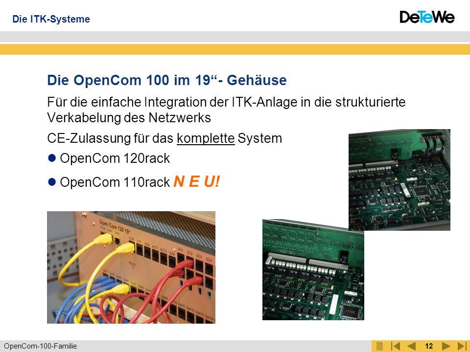 OpenCom-100-Familie11 Die passende OpenCom 100 für jeden 1-21S0-Anschlüsse extern 1111TFE (in Verbindung mit a/b-Port) 1211LAN-Anschlüsse 4444a/b-Ports 31884UPN-Anschlüsse 11--S2M (optional) --11S0-Anschlüsse intern 1622S0-Anschlüsse int./ext.