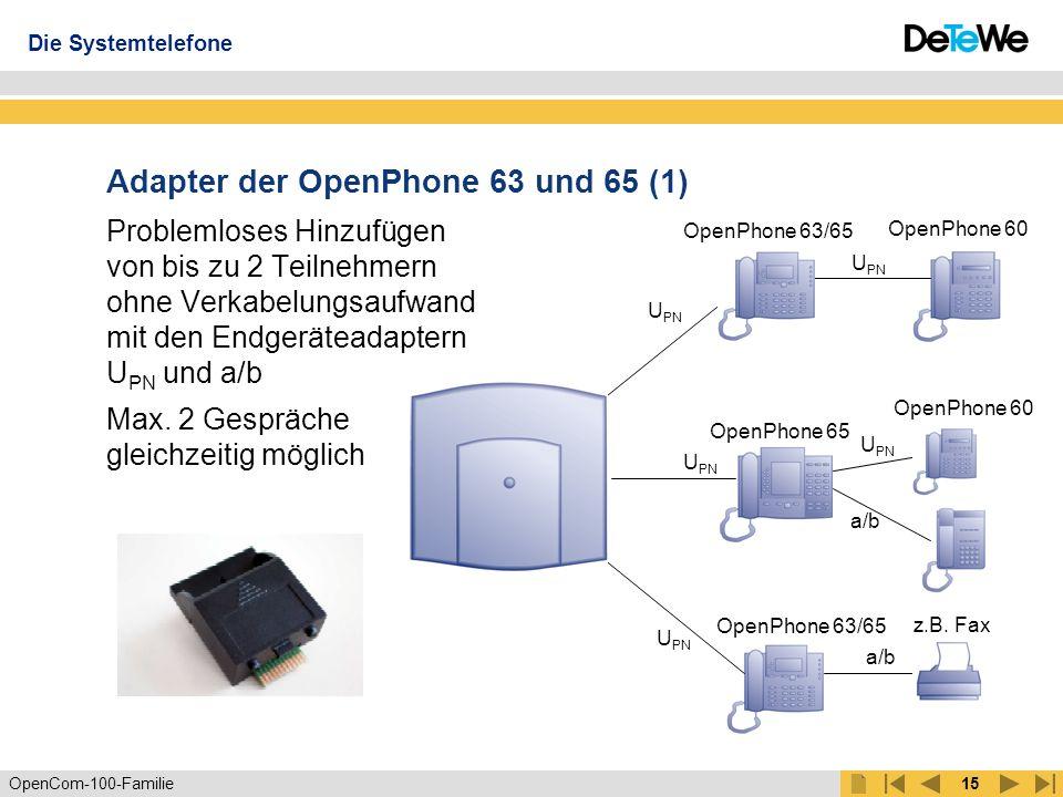 OpenCom-100-Familie14 Systemtelefone der OpenCom-100-Familie OpenPhone 63 OpenPhone 65 OpenPhone 52 OpenPhone 61 Die Systemtelefone mehr