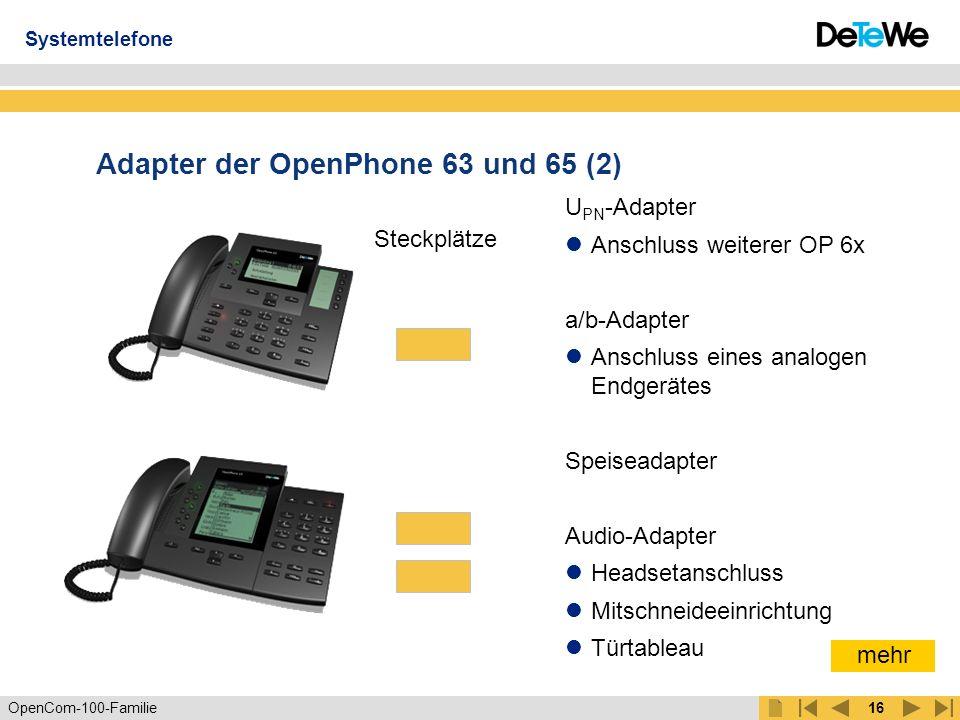OpenCom-100-Familie15 Adapter der OpenPhone 63 und 65 (1) Problemloses Hinzufügen von bis zu 2 Teilnehmern ohne Verkabelungsaufwand mit den Endgeräteadaptern U PN und a/b Max.