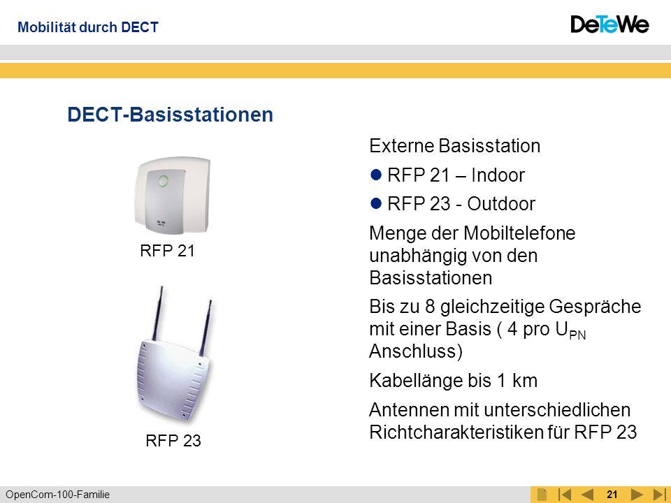 OpenCom-100-Familie20 Schnurlose Systemtelefone OpenPhone 21 OpenPhone 25 Mobilität durch DECT