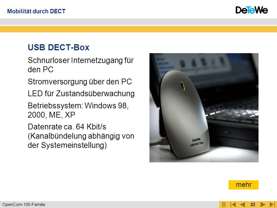 OpenCom-100-Familie21 DECT-Basisstationen Externe Basisstation RFP 21 – Indoor RFP 23 - Outdoor Menge der Mobiltelefone unabhängig von den Basisstationen Bis zu 8 gleichzeitige Gespräche mit einer Basis ( 4 pro U PN Anschluss) Kabellänge bis 1 km Antennen mit unterschiedlichen Richtcharakteristiken für RFP 23 RFP 21 RFP 23 Mobilität durch DECT