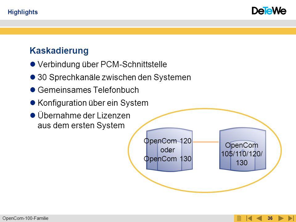 OpenCom-100-Familie35 OpenCom 120 oder OpenCom 130 Kaskadierung – auf Wachstum programmiert OpenCom 105/110/120/ 130 Highlights bis 134 Ports MasterSlave