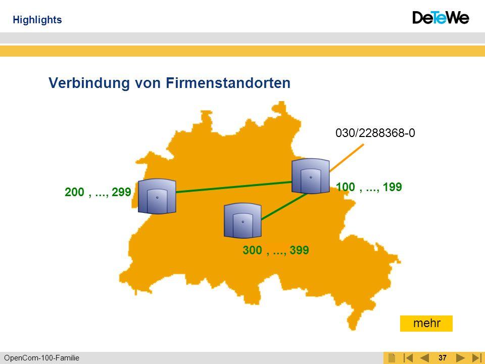 OpenCom-100-Familie36 Kaskadierung Verbindung über PCM-Schnittstelle 30 Sprechkanäle zwischen den Systemen Gemeinsames Telefonbuch Konfiguration über ein System Übernahme der Lizenzen aus dem ersten System Highlights OpenCom 120 oder OpenCom 130 OpenCom 105/110/120/ 130