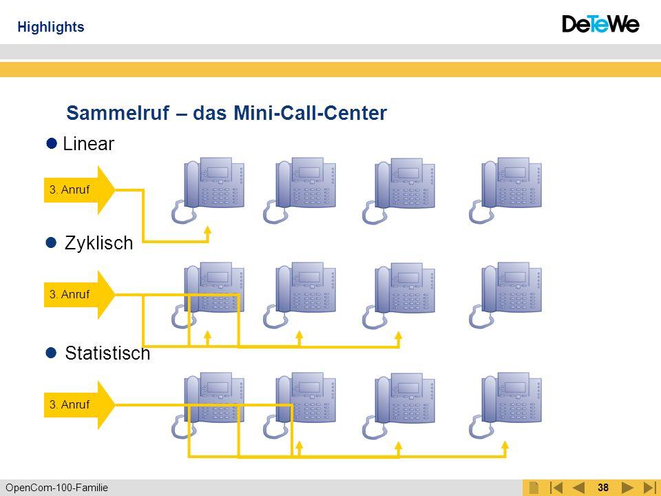 OpenCom-100-Familie37 Verbindung von Firmenstandorten 030/2288368-0 100,..., 199 300,..., 399 200,..., 299 Highlights mehr
