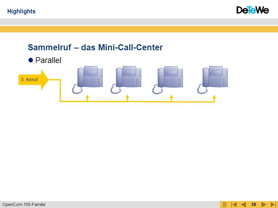 OpenCom-100-Familie38 Sammelruf – das Mini-Call-Center Linear Zyklisch Statistisch 1.