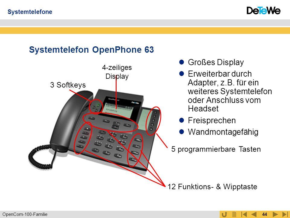 OpenCom-100-Familie43 Systemtelefon OpenPhone 61 Einfachste Bedienung: selbsterklärende menüabhängige Benutzerführung Anzeige von entgangenen Telefonaten und eingegangenen eMails Lauthören Wandmontagefähig 1-zeiliges Display 1 Softkey 5 programmierbare Tasten 9 Funktionstasten Systemtelefone