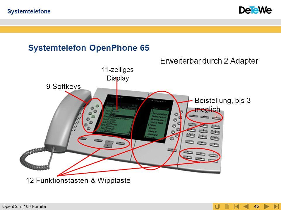 OpenCom-100-Familie44 Systemtelefon OpenPhone 63 Großes Display Erweiterbar durch Adapter, z.B.