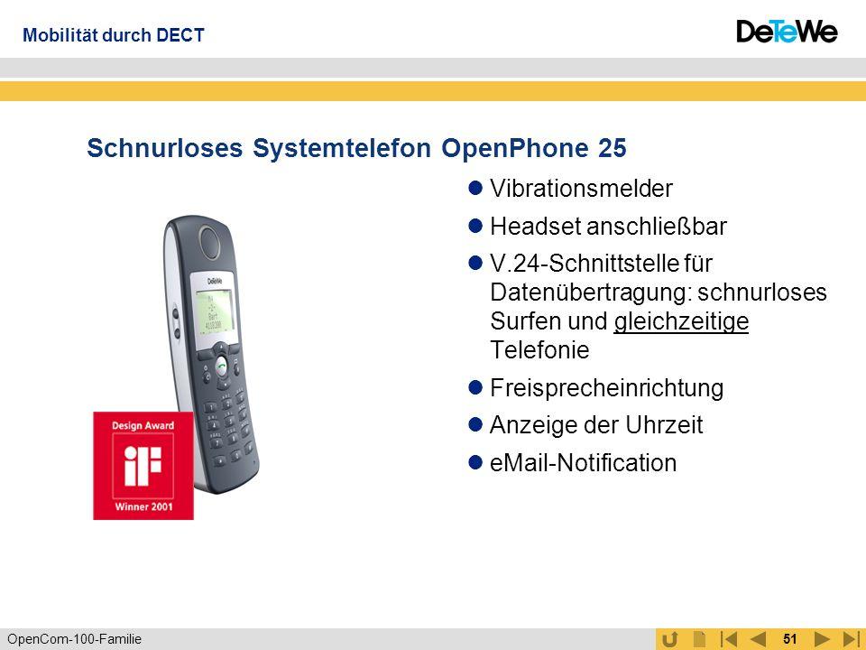 OpenCom-100-Familie50 Schnurloses Systemtelefon OpenPhone 21 Optische und akustische Rufsignalisierung Alarm und Weckruf eMail-Notification Systemfunktionen wie Telefonbuch und...