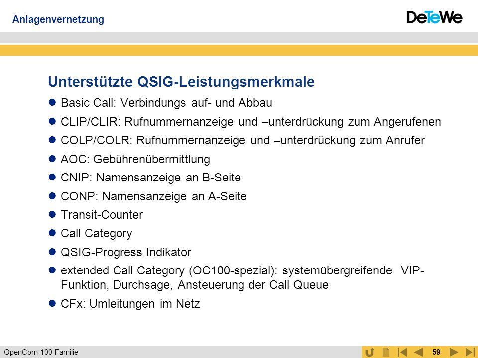 OpenCom-100-Familie58 Anlagenvernetzung (2) Transitfunktion Unterstützung S2M Anlagenvernetzung