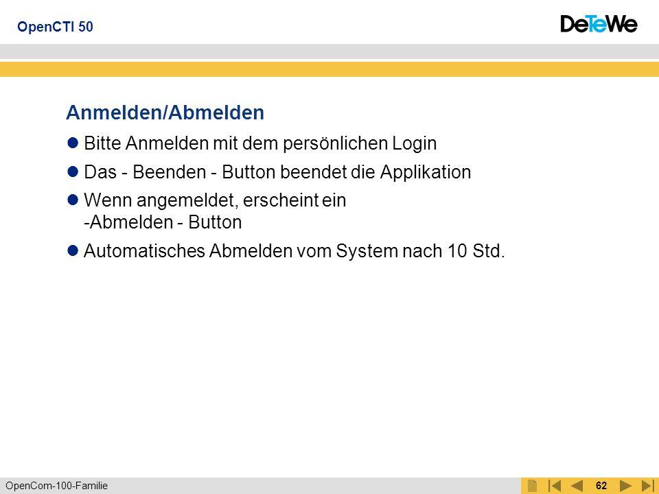 OpenCom-100-Familie61 Telefonieren Anruf kommend: Wird mit Name/Rufnummer signalisiert Mit -Anwahl Button- annehmbar Anruf gehend: Anwahl über Symbol: Büro, Mobil, Privat aus Listen Anwahl über Tastatur und -Anwahl Button- Verbindung: Anzeige von Name/Rufnummer und Zustandsanzeige Beenden mit -Auflegen Button- Anklopfer: Anzeige von Name/Rufnummer und Zustand: Anruf Anklopfer Mit -Anwahl Button- annehmbar (aktuelle Verbindung wird beendet) OpenCTI 50