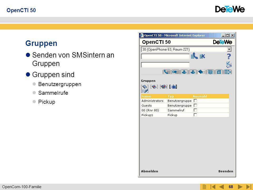 OpenCom-100-Familie67 Telefonbuch 3 Anzeigemodi: persönliches Telefonbuch zentrales Telefonbuch persönliches und zentrales Telefonbuch Suchfunktion nach Name oder Rufnr.