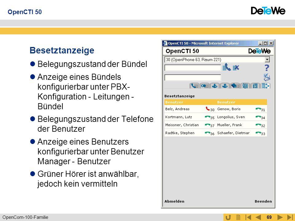 OpenCom-100-Familie68 Gruppen Senden von SMSintern an Gruppen Gruppen sind Benutzergruppen Sammelrufe Pickup OpenCTI 50