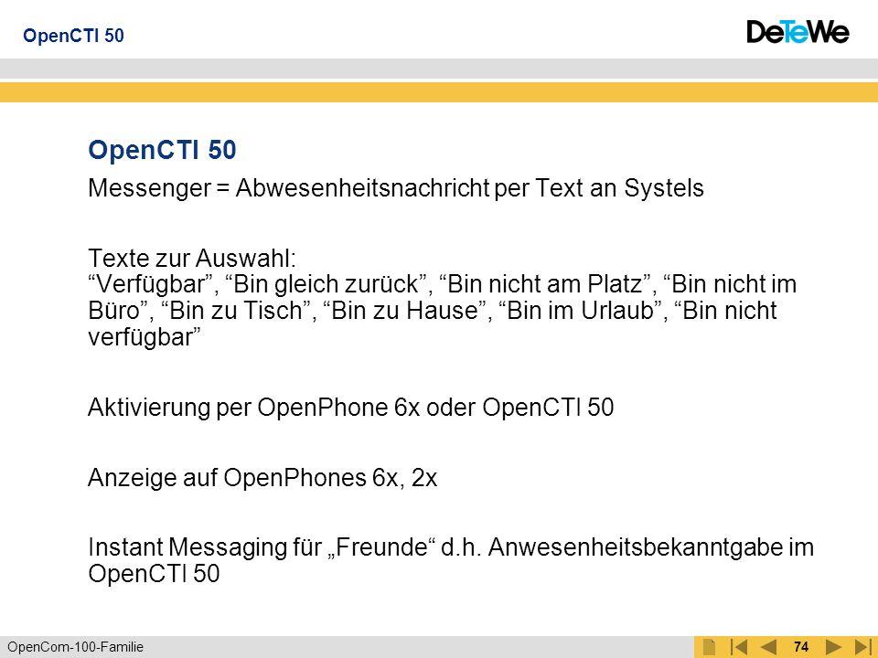 OpenCom-100-Familie73 Zur Kommunikation Virtuelle CAPI CAPI-Funktionen im Netzwerk, z.B.