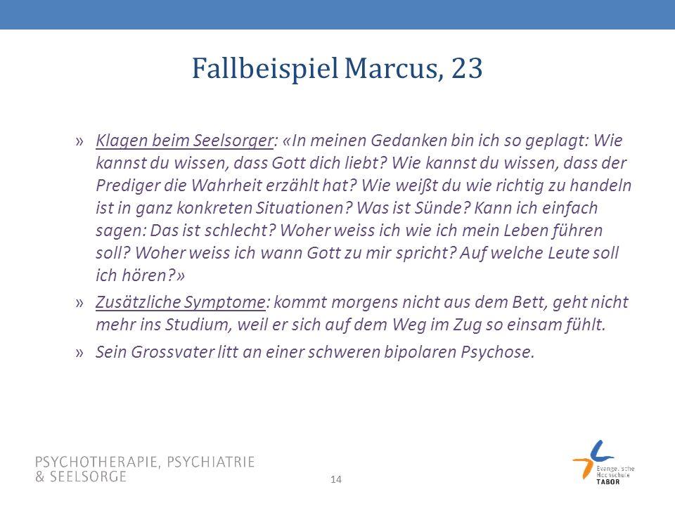 14 Fallbeispiel Marcus, 23 »Klagen beim Seelsorger: «In meinen Gedanken bin ich so geplagt: Wie kannst du wissen, dass Gott dich liebt.