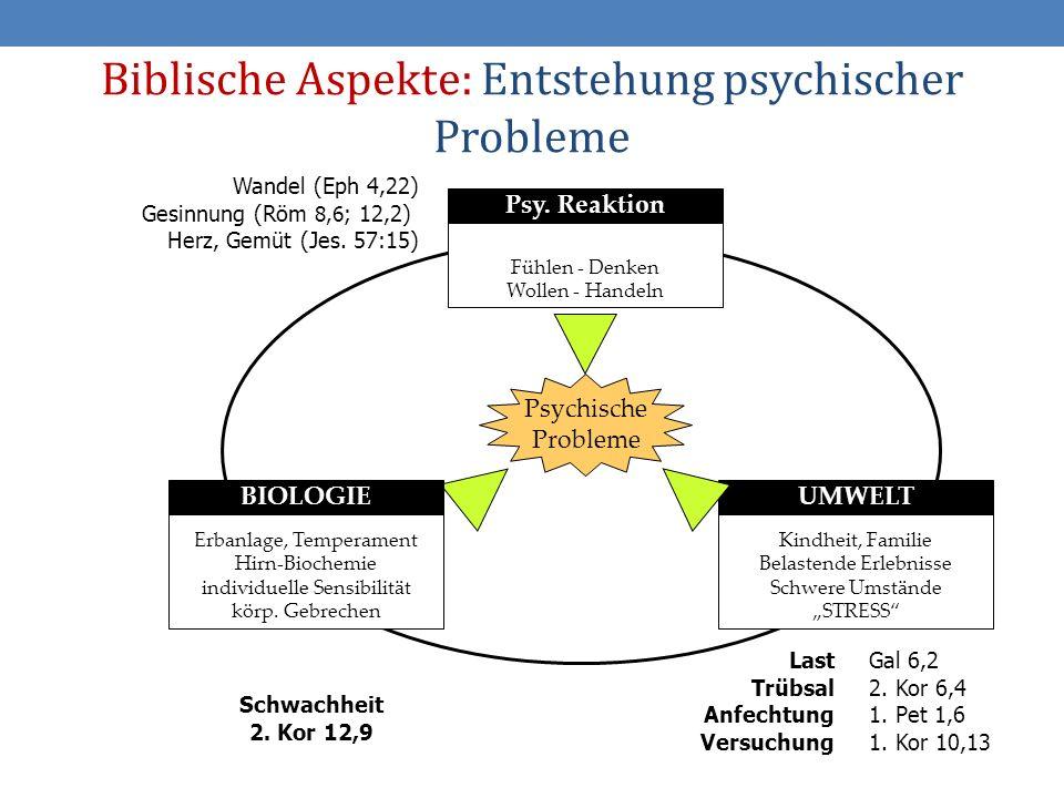 18 Biblische Aspekte: Entstehung psychischer Probleme Fühlen - Denken Wollen - Handeln Psy.