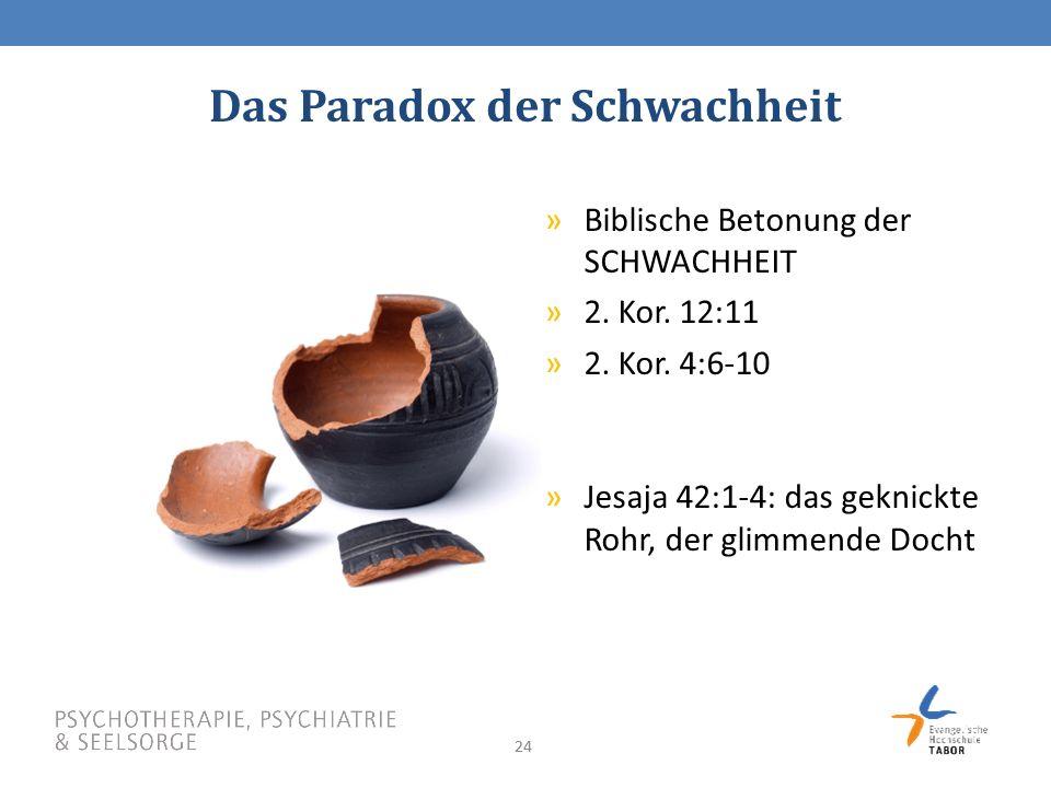 24 Das Paradox der Schwachheit »Biblische Betonung der SCHWACHHEIT »2.