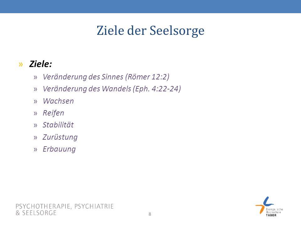 88 Ziele der Seelsorge »Ziele: »Veränderung des Sinnes (Römer 12:2) »Veränderung des Wandels (Eph.
