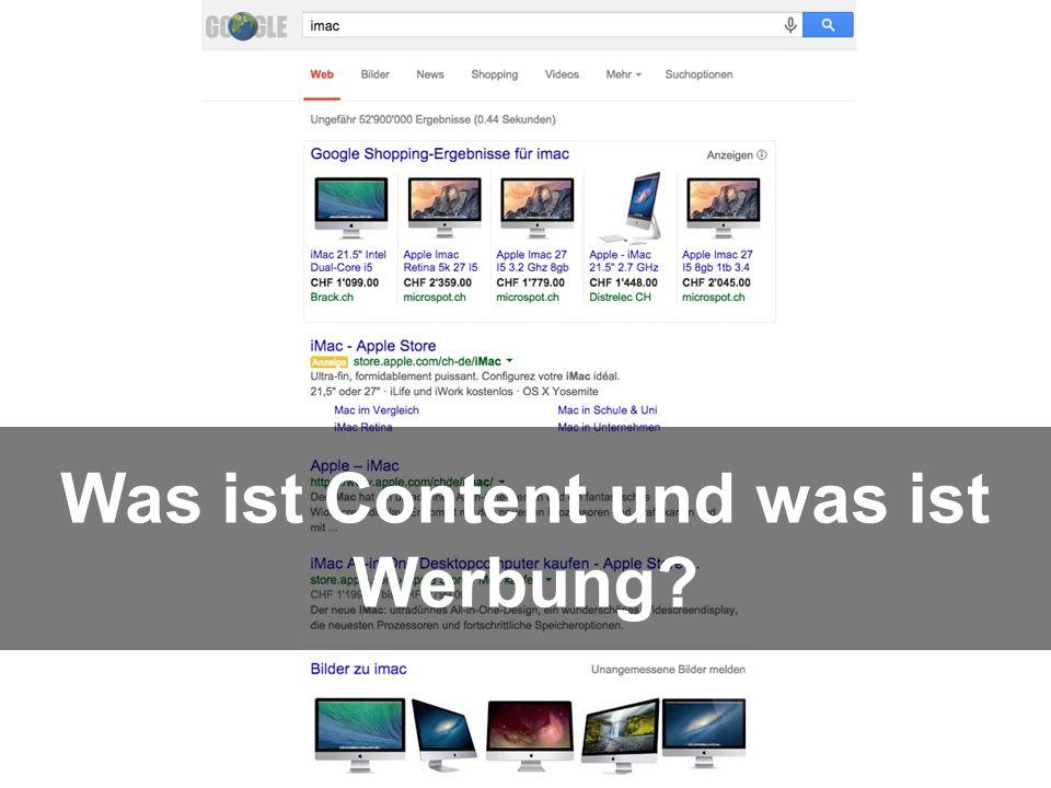 11 http://bit.ly/GoogleSucheiMac Was ist Content und was ist Werbung?