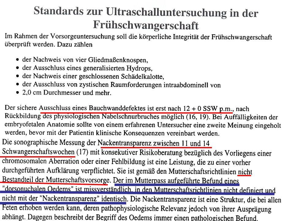 Standards zur Ultraschalluntersuchung in der Schwangerschaft