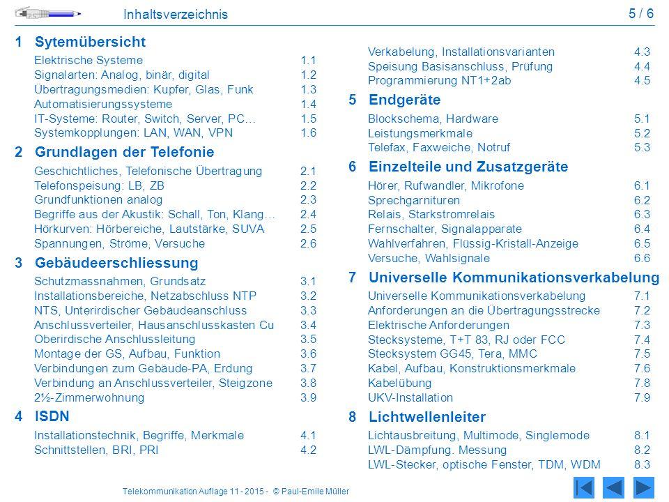 Telekommunikation Auflage 11 - 2015 - © Paul-Emile Müller 5 / 6 Inhaltsverzeichnis 1Sytemübersicht Elektrische Systeme1.1 Signalarten: Analog, binär, digital 1.2 Übertragungsmedien: Kupfer, Glas, Funk1.3 Automatisierungssysteme 1.4 IT-Systeme: Router, Switch, Server, PC…1.5 Systemkopplungen: LAN, WAN, VPN1.6 2Grundlagen der Telefonie Geschichtliches, Telefonische Übertragung2.1 Telefonspeisung: LB, ZB2.2 Grundfunktionen analog2.3 Begriffe aus der Akustik: Schall, Ton, Klang…2.4 Hörkurven: Hörbereiche, Lautstärke, SUVA2.5 Spannungen, Ströme, Versuche2.6 3Gebäudeerschliessung Schutzmassnahmen, Grundsatz3.1 Installationsbereiche, Netzabschluss NTP3.2 NTS, Unterirdischer Gebäudeanschluss3.3 Anschlussverteiler, Hausanschlusskasten Cu3.4 Oberirdische Anschlussleitung3.5 Montage der GS, Aufbau, Funktion3.6 Verbindungen zum Gebäude-PA, Erdung3.7 Verbindung an Anschlussverteiler, Steigzone3.8 2½-Zimmerwohnung3.9 4ISDN Installationstechnik, Begriffe, Merkmale4.1 Schnittstellen, BRI, PRI4.2 Verkabelung, Installationsvarianten4.3 Speisung Basisanschluss, Prüfung4.4 Programmierung NT1+2ab4.5 5Endgeräte Blockschema, Hardware5.1 Leistungsmerkmale5.2 Telefax, Faxweiche, Notruf5.3 6Einzelteile und Zusatzgeräte Hörer, Rufwandler, Mikrofone6.1 Sprechgarnituren6.2 Relais, Starkstromrelais6.3 Fernschalter, Signalapparate6.4 Wahlverfahren, Flüssig-Kristall-Anzeige6.5 Versuche, Wahlsignale6.6 7Universelle Kommunikationsverkabelung Universelle Kommunikationsverkabelung7.1 Anforderungen an die Übertragungsstrecke7.2 Elektrische Anforderungen7.3 Stecksysteme, T+T 83, RJ oder FCC7.4 Stecksystem GG45, Tera, MMC7.5 Kabel, Aufbau, Konstruktionsmerkmale 7.6 Kabelübung7.8 UKV-Installation7.9 8Lichtwellenleiter Lichtausbreitung, Multimode, Singlemode8.1 LWL-Dämpfung.