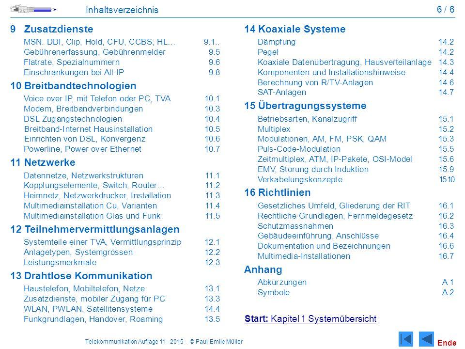 Telekommunikation Auflage 11 - 2015 - © Paul-Emile Müller 6 / 6 Inhaltsverzeichnis 9Zusatzdienste MSN.