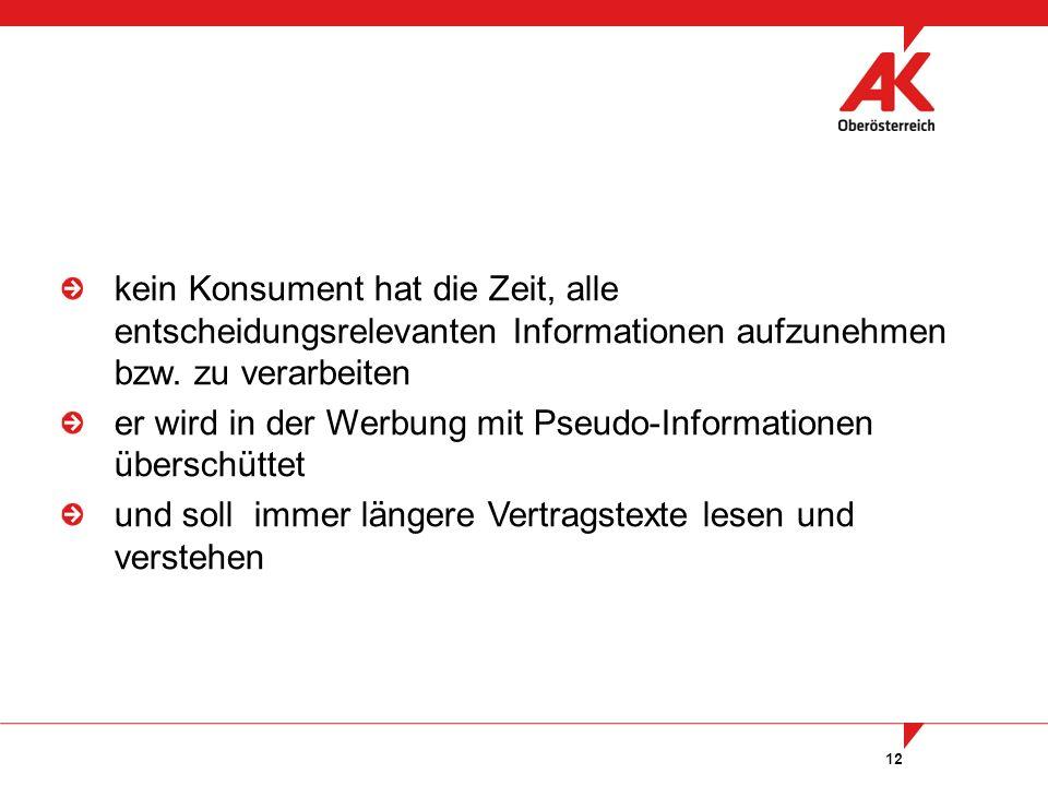 12 kein Konsument hat die Zeit, alle entscheidungsrelevanten Informationen aufzunehmen bzw. zu verarbeiten er wird in der Werbung mit Pseudo-Informati