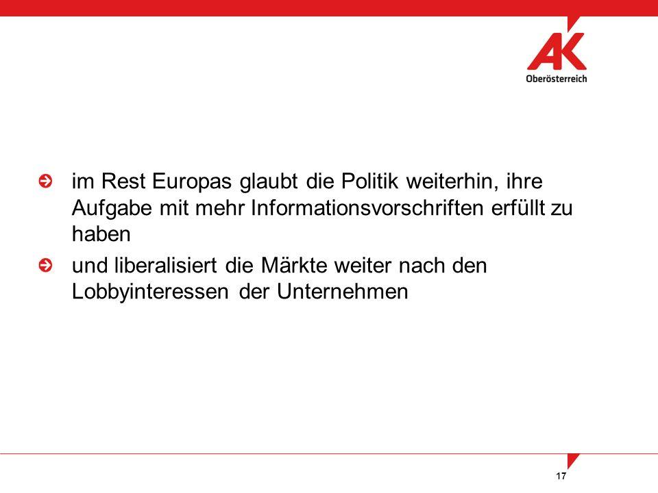 17 im Rest Europas glaubt die Politik weiterhin, ihre Aufgabe mit mehr Informationsvorschriften erfüllt zu haben und liberalisiert die Märkte weiter n