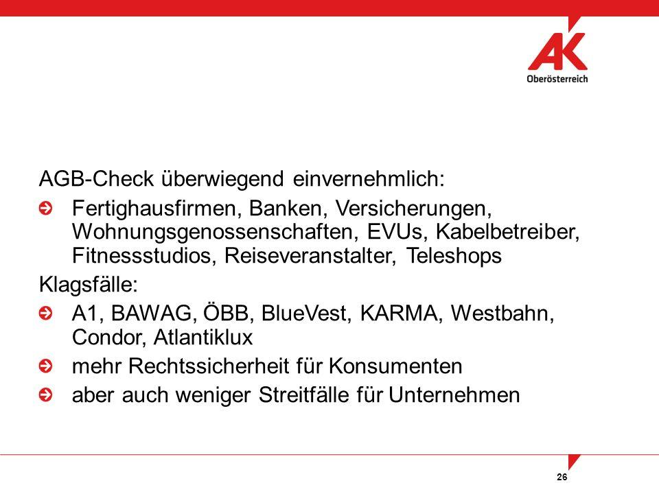 26 AGB-Check überwiegend einvernehmlich: Fertighausfirmen, Banken, Versicherungen, Wohnungsgenossenschaften, EVUs, Kabelbetreiber, Fitnessstudios, Reiseveranstalter, Teleshops Klagsfälle: A1, BAWAG, ÖBB, BlueVest, KARMA, Westbahn, Condor, Atlantiklux mehr Rechtssicherheit für Konsumenten aber auch weniger Streitfälle für Unternehmen