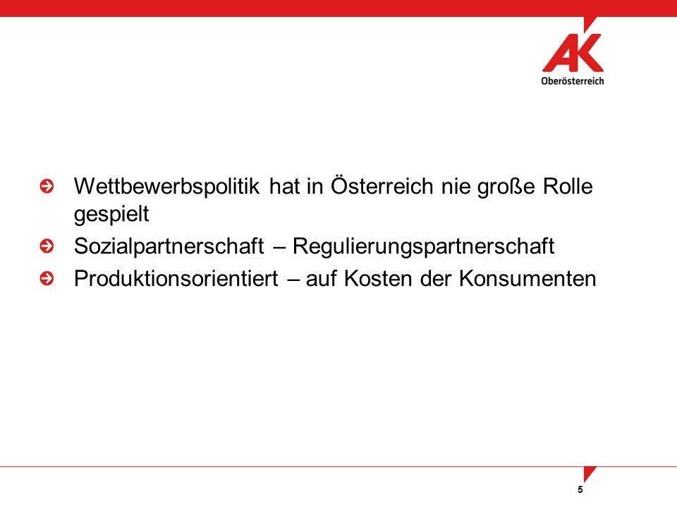 5 Wettbewerbspolitik hat in Österreich nie große Rolle gespielt Sozialpartnerschaft – Regulierungspartnerschaft Produktionsorientiert – auf Kosten der Konsumenten