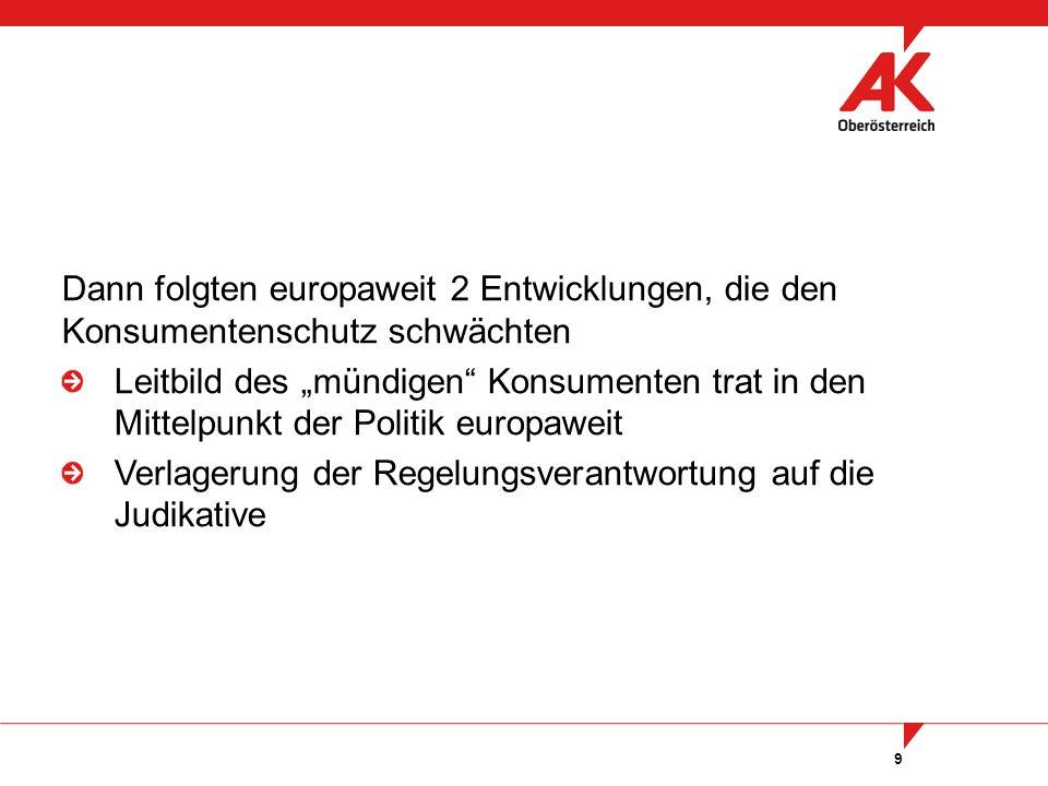 """9 Dann folgten europaweit 2 Entwicklungen, die den Konsumentenschutz schwächten Leitbild des """"mündigen Konsumenten trat in den Mittelpunkt der Politik europaweit Verlagerung der Regelungsverantwortung auf die Judikative"""