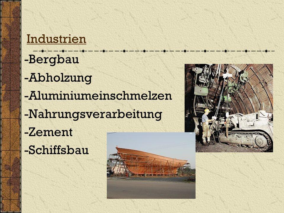 Industrien -Bergbau -Abholzung -Aluminiumeinschmelzen -Nahrungsverarbeitung -Zement -Schiffsbau