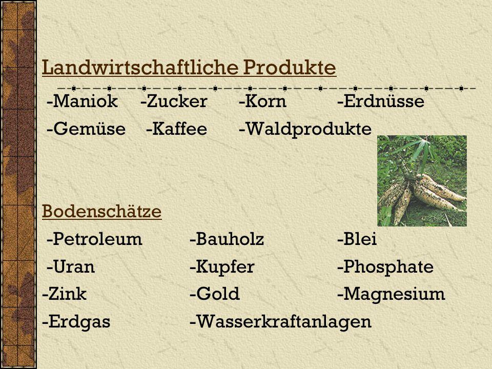Landwirtschaftliche Produkte -Maniok-Zucker-Korn-Erdnüsse -Gemüse -Kaffee-Waldprodukte Bodenschätze -Petroleum -Bauholz-Blei -Uran -Kupfer -Phosphate