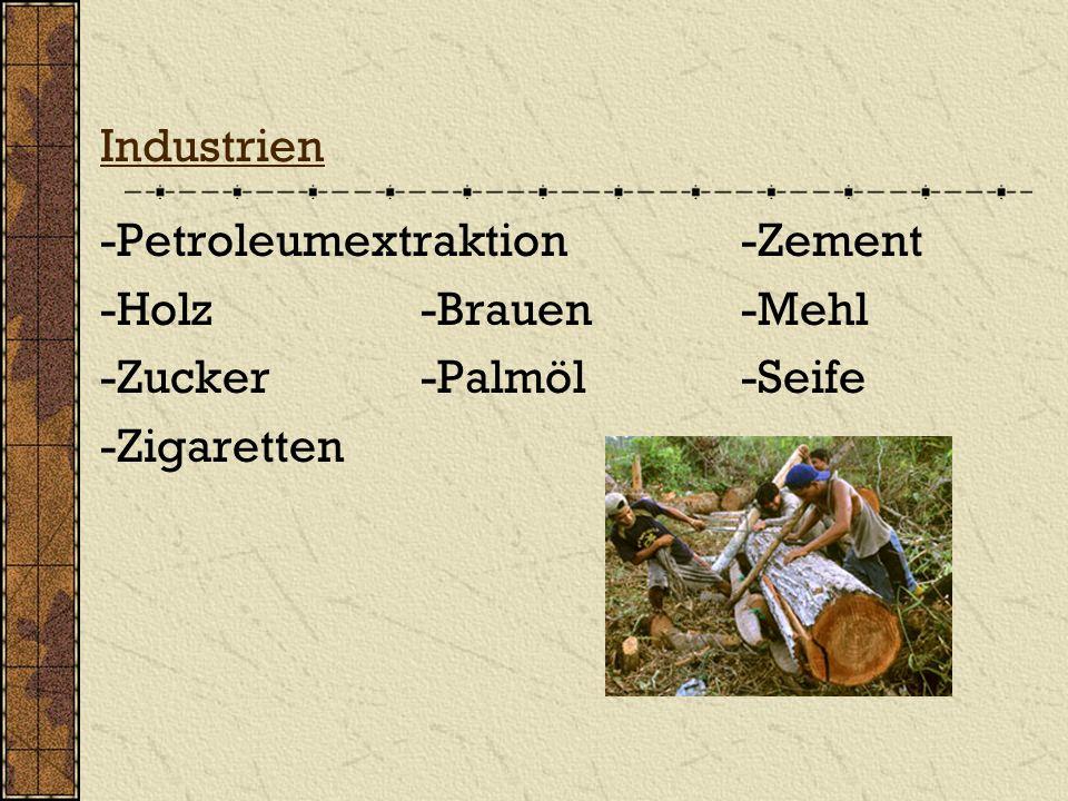 Industrien -Petroleumextraktion-Zement -Holz -Brauen-Mehl -Zucker-Palmöl-Seife -Zigaretten