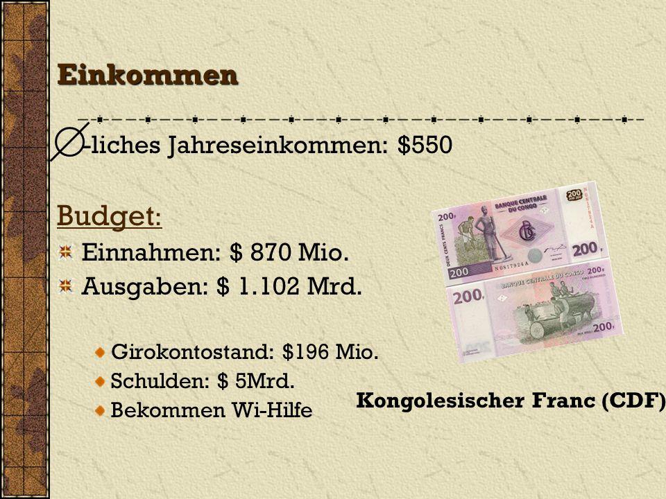 Einkommen -liches Jahreseinkommen: $550 Budget : Einnahmen: $ 870 Mio. Ausgaben: $ 1.102 Mrd. Girokontostand: $196 Mio. Schulden: $ 5Mrd. Bekommen Wi-