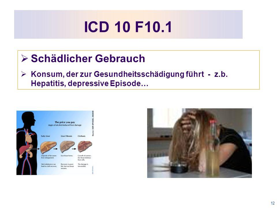 12 ICD 10 F10.1  Schädlicher Gebrauch  Konsum, der zur Gesundheitsschädigung führt - z.b.