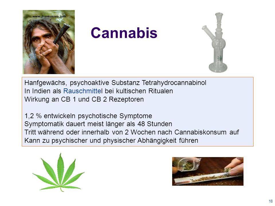 18 Cannabis Hanfgewächs, psychoaktive Substanz Tetrahydrocannabinol In Indien als Rauschmittel bei kultischen Ritualen Wirkung an CB 1 und CB 2 Rezeptoren 1,2 % entwickeln psychotische Symptome Symptomatik dauert meist länger als 48 Stunden Tritt während oder innerhalb von 2 Wochen nach Cannabiskonsum auf Kann zu psychischer und physischer Abhängigkeit führen