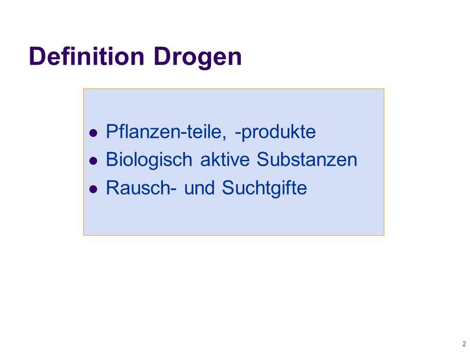 2 Definition Drogen Pflanzen-teile, -produkte Biologisch aktive Substanzen Rausch- und Suchtgifte