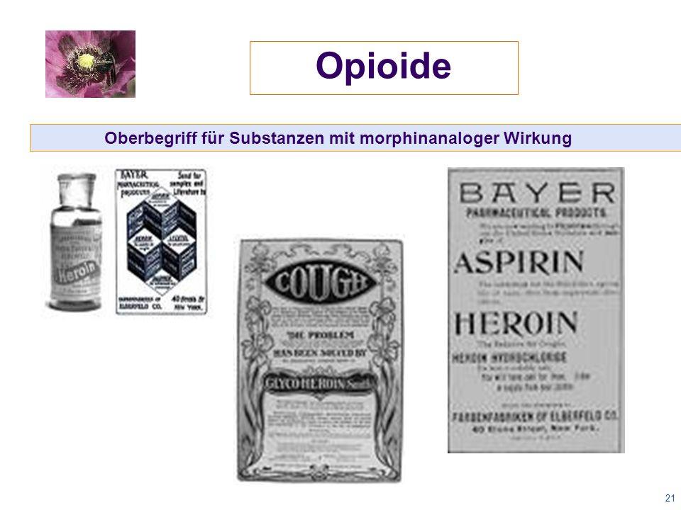21 Oberbegriff für Substanzen mit morphinanaloger Wirkung Opioide