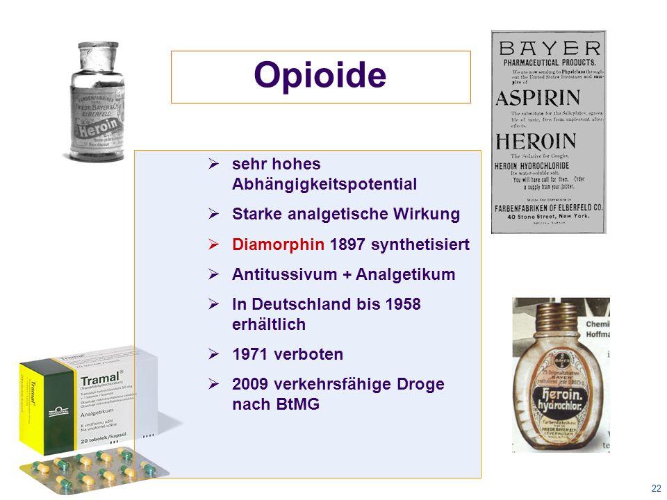 22 Opioide  sehr hohes Abhängigkeitspotential  Starke analgetische Wirkung  Diamorphin 1897 synthetisiert  Antitussivum + Analgetikum  In Deutschland bis 1958 erhältlich  1971 verboten  2009 verkehrsfähige Droge nach BtMG