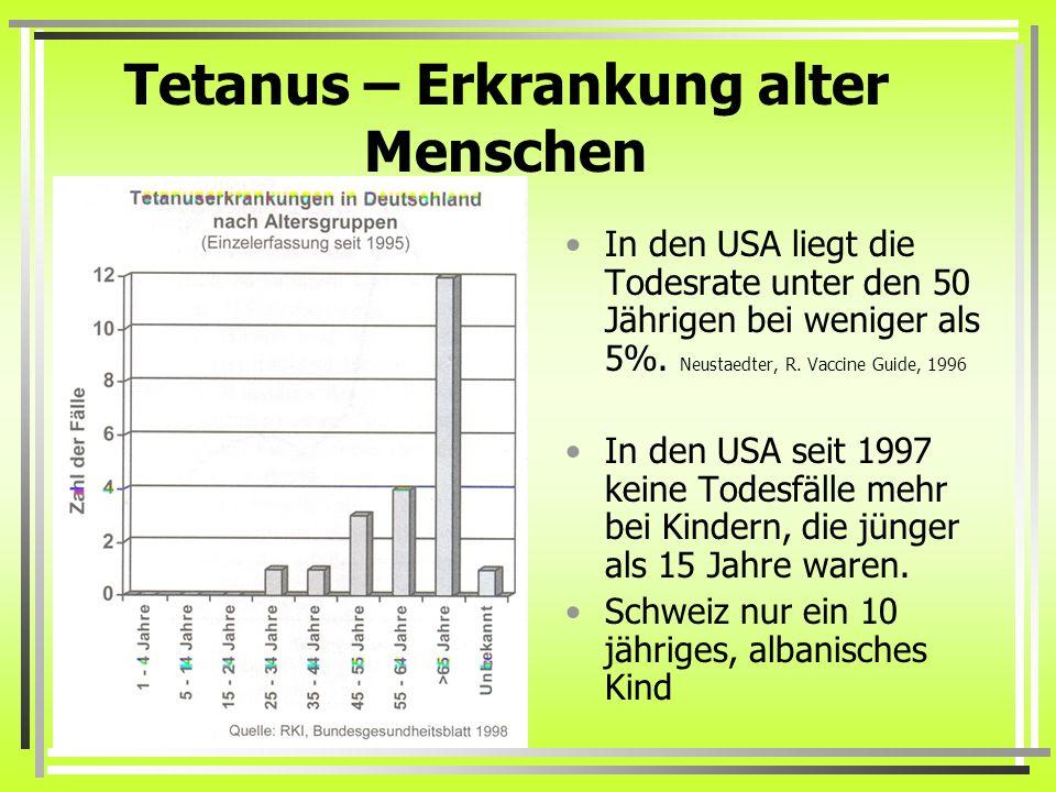 Tetanus – Erkrankung alter Menschen In den USA liegt die Todesrate unter den 50 Jährigen bei weniger als 5%. Neustaedter, R. Vaccine Guide, 1996 In de