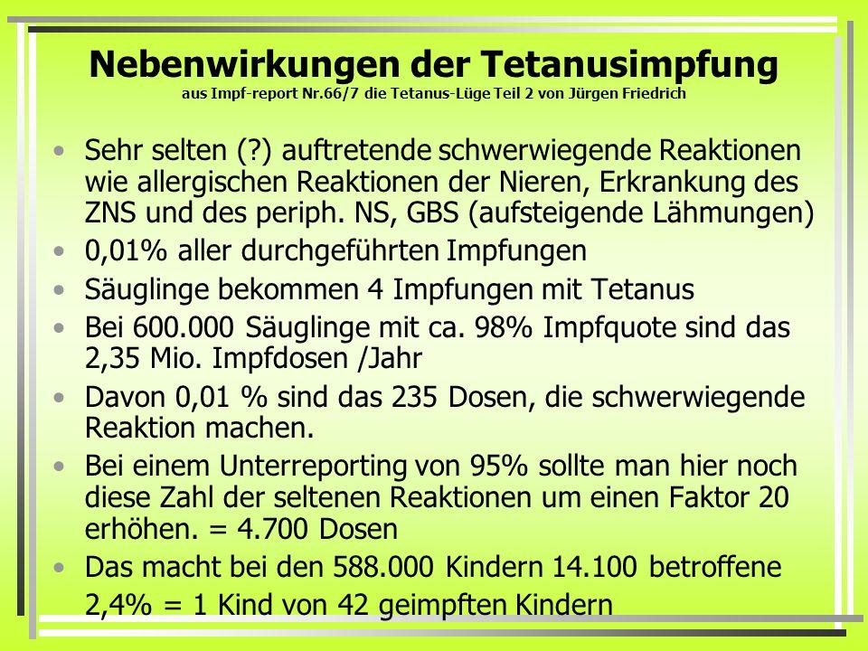 Nebenwirkungen der Tetanusimpfung aus Impf-report Nr.66/7 die Tetanus-Lüge Teil 2 von Jürgen Friedrich Sehr selten (?) auftretende schwerwiegende Reak