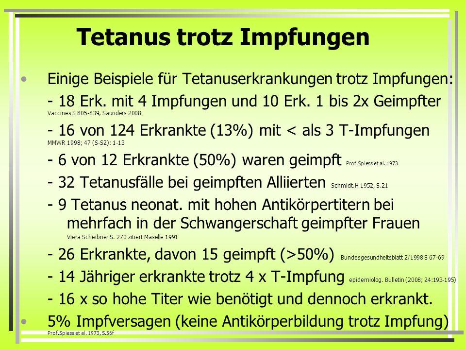 Tetanus trotz Impfungen Einige Beispiele für Tetanuserkrankungen trotz Impfungen: - 18 Erk. mit 4 Impfungen und 10 Erk. 1 bis 2x Geimpfter Vaccines S