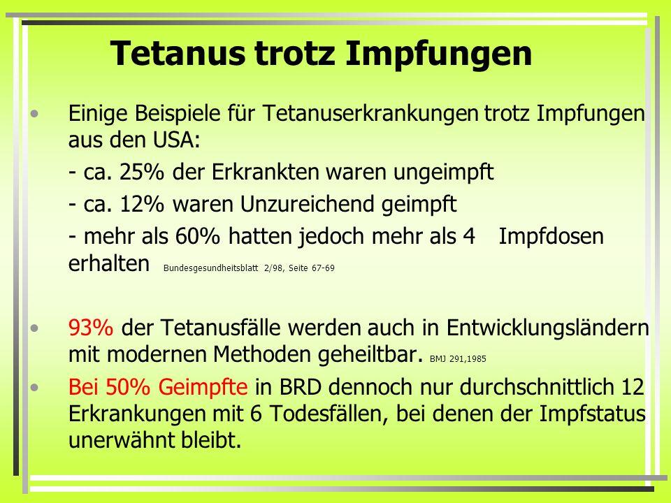 Tetanus trotz Impfungen Einige Beispiele für Tetanuserkrankungen trotz Impfungen aus den USA: - ca. 25% der Erkrankten waren ungeimpft - ca. 12% waren