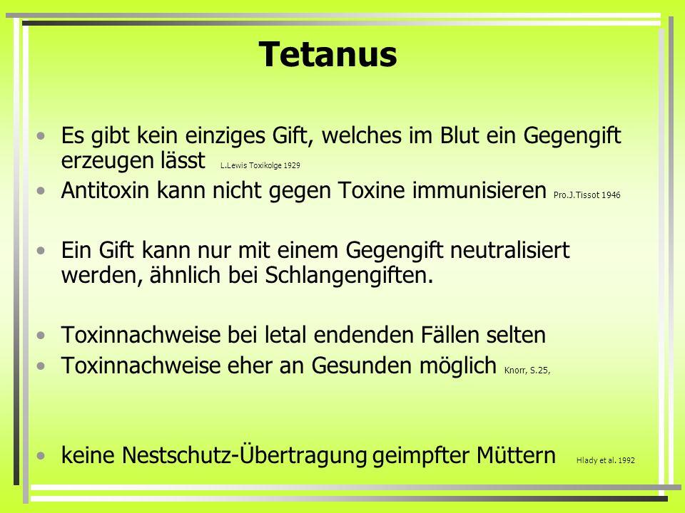 Tetanus Es gibt kein einziges Gift, welches im Blut ein Gegengift erzeugen lässt L.Lewis Toxikolge 1929 Antitoxin kann nicht gegen Toxine immunisieren