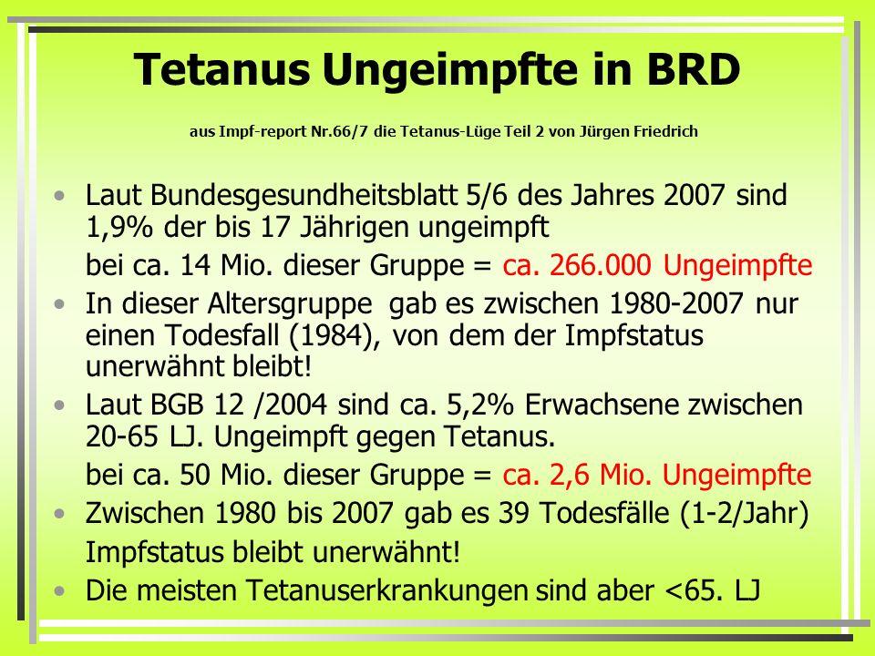 Tetanus Ungeimpfte in BRD aus Impf-report Nr.66/7 die Tetanus-Lüge Teil 2 von Jürgen Friedrich Laut Bundesgesundheitsblatt 5/6 des Jahres 2007 sind 1,