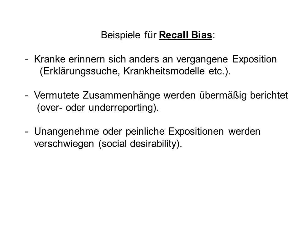 Beispiele für Recall Bias: -Kranke erinnern sich anders an vergangene Exposition (Erklärungssuche, Krankheitsmodelle etc.). -Vermutete Zusammenhänge w