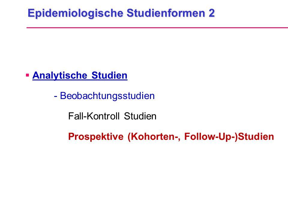 Epidemiologische Studienformen 2  Analytische Studien - Beobachtungsstudien Fall-Kontroll Studien Prospektive (Kohorten-, Follow-Up-)Studien