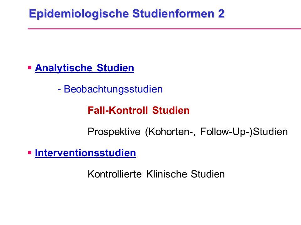 Epidemiologische Studienformen 2  Analytische Studien - Beobachtungsstudien Fall-Kontroll Studien Prospektive (Kohorten-, Follow-Up-)Studien  Interv
